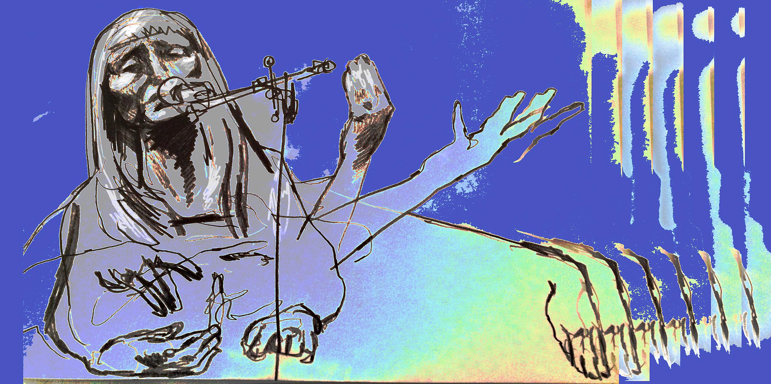Sidsel Endresen, illustrasjon av Arne Nøst